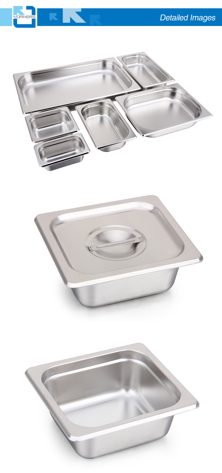 1/6 American Style Stainless Steel Gastronorm Pan