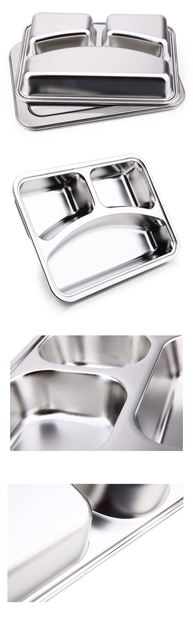 3 Dividers Stainless Steel Lunch Tray and Fast Food Plate for Kids