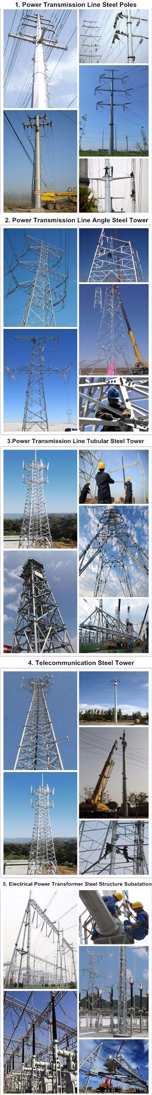 66kv 20m High Power Lines Tower Galvanized Steel Tubular Pole