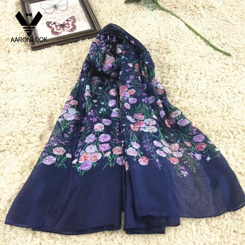 Women's Colorful Pure Silk Grass Flower Print Scarf