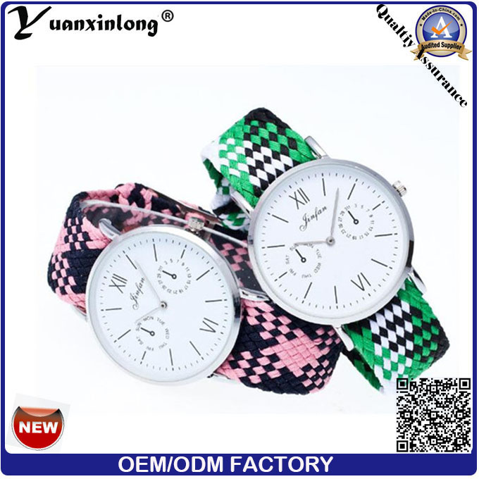 Yxl-202 2016 New Style Woven Watch Ladies Knit Nylon Nato Strap Watches Women Wristwatch Bracelet Watch