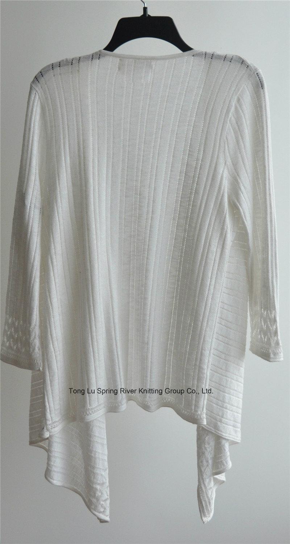 100%Cotton Long Sleeve Ladies Opean Patterned Knitwear Cardigan