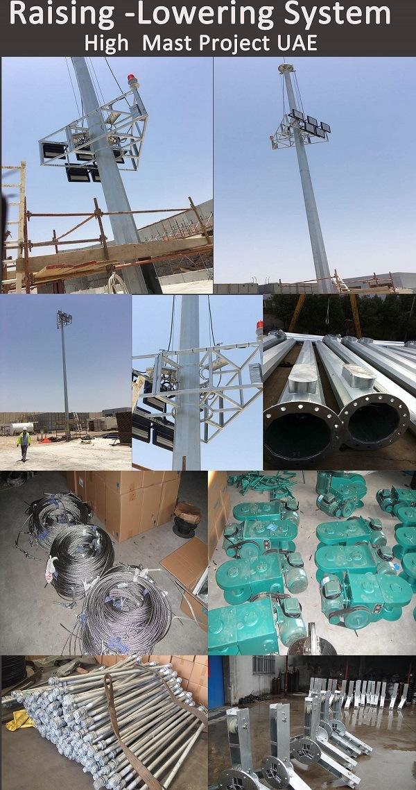 40m Steel Galvanized High Mast Used on Stadium