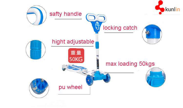 2016 Cheap Kick Scooter for 3-10 Years Children with Music