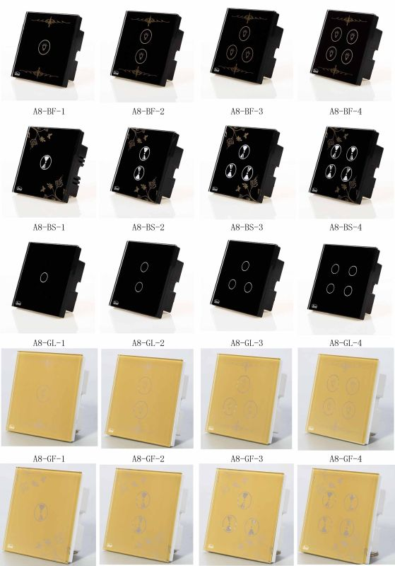 Wall Switch, Remote Control Switch, Touch Switch, Black 1 Key ABS