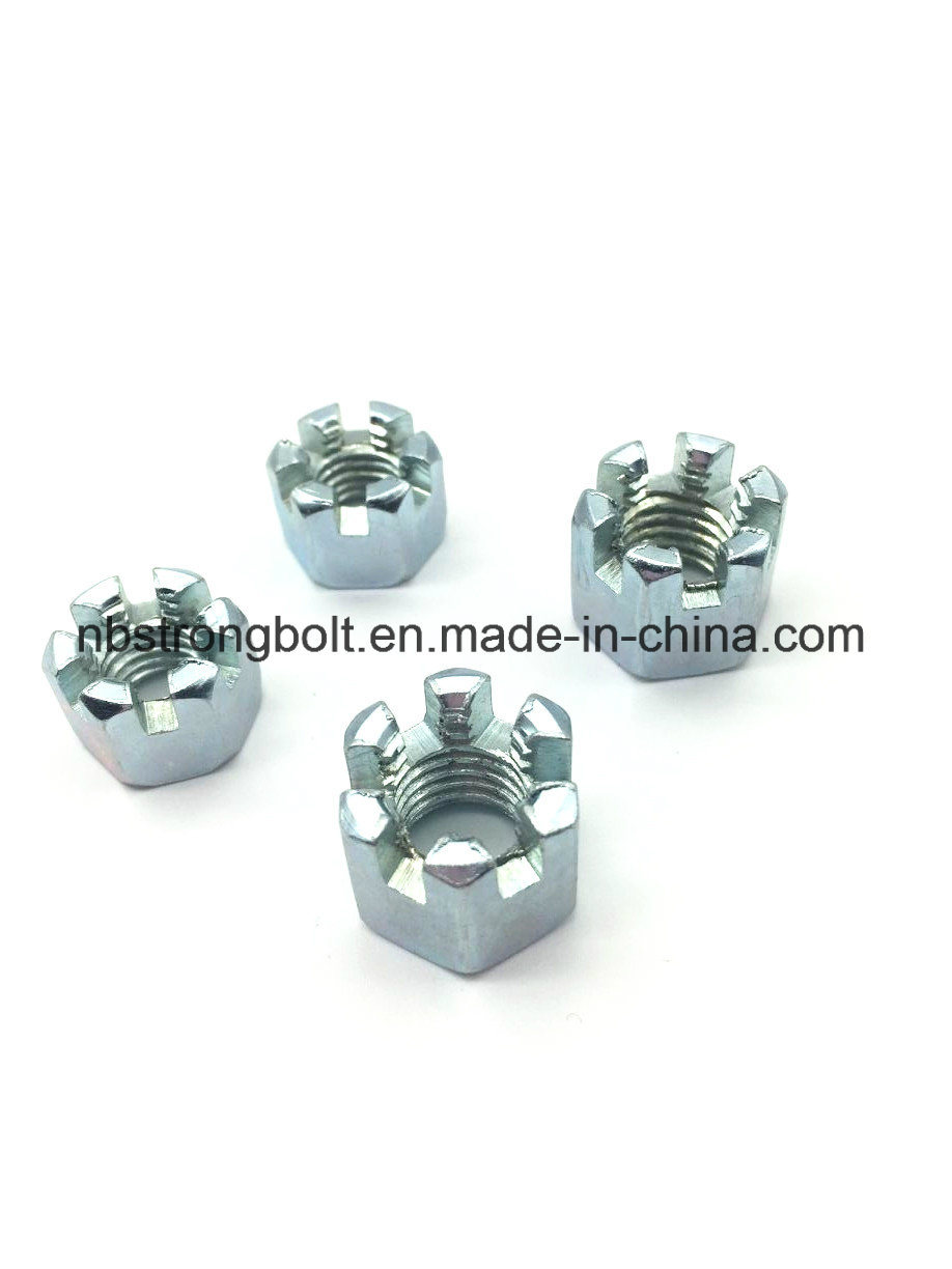DIN935 Hexagon Slotted Nut with White Zinc Palted Cr3+ M12