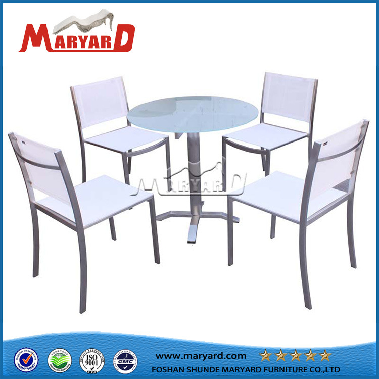 White Textile Dining Chair for Round Table and Glass Top Round Coffee Table Set