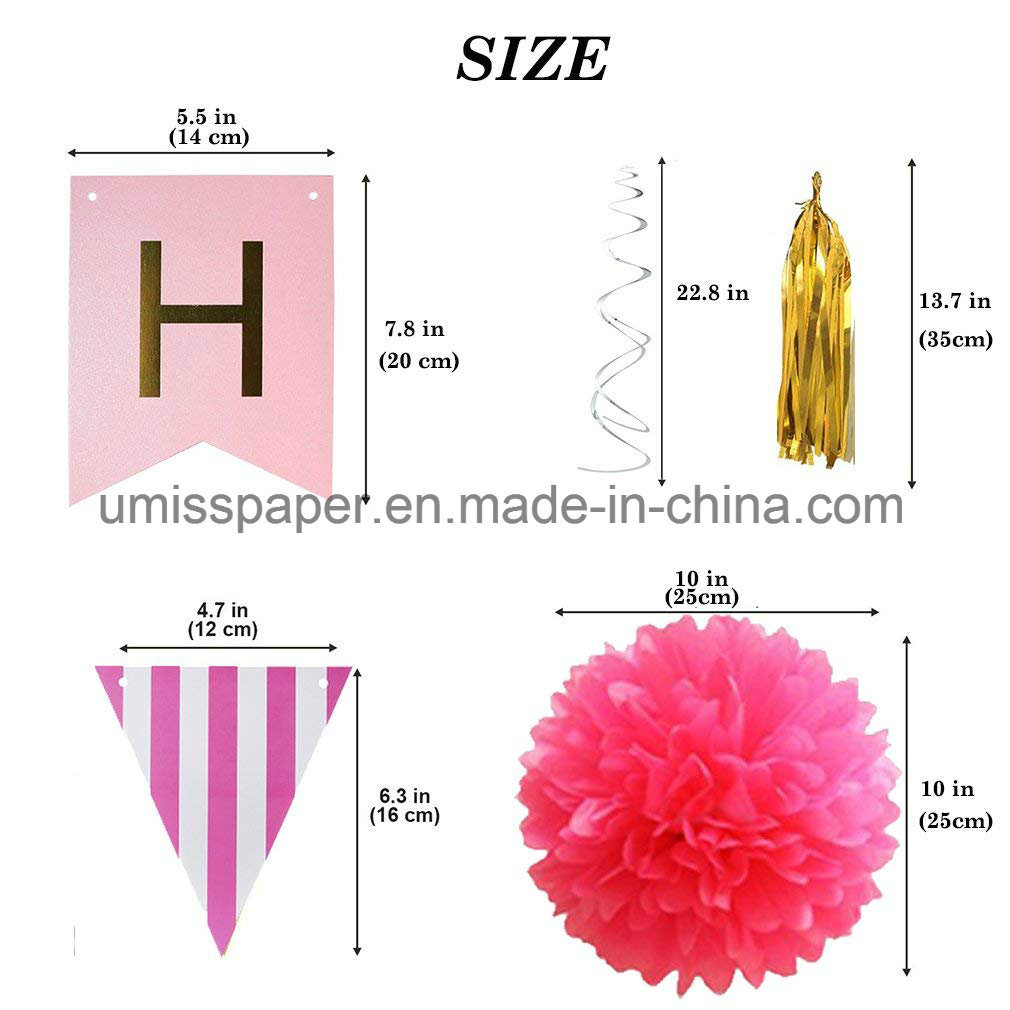 Umiss Paper Bunting Paper Garland for Happy Birthday Decorations Party Supply