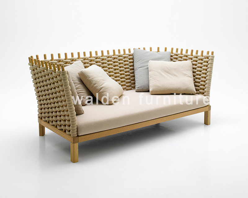 2018 Walden High Quality Wood Rope Weaving Sofa Lounge Outdoor Aluminium Furniture