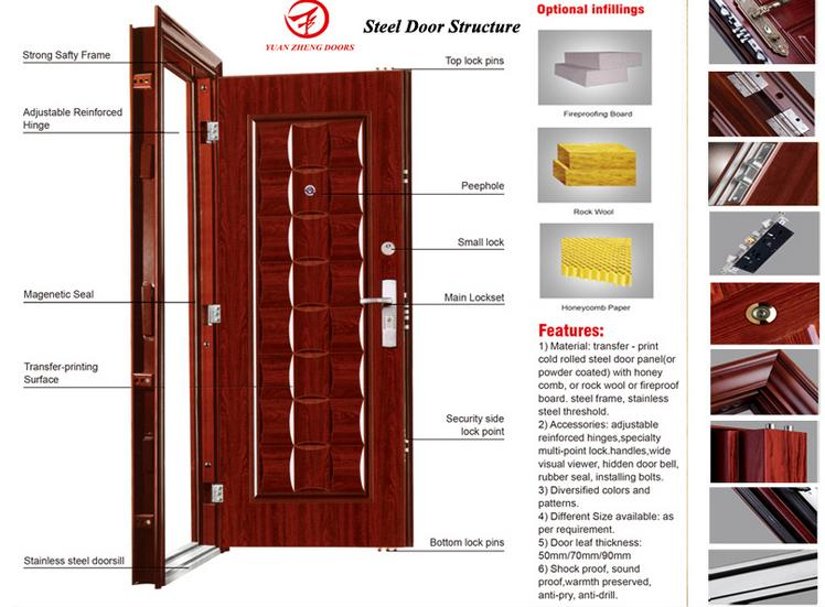 Main Wooden Deisgn Color Steel Security Door