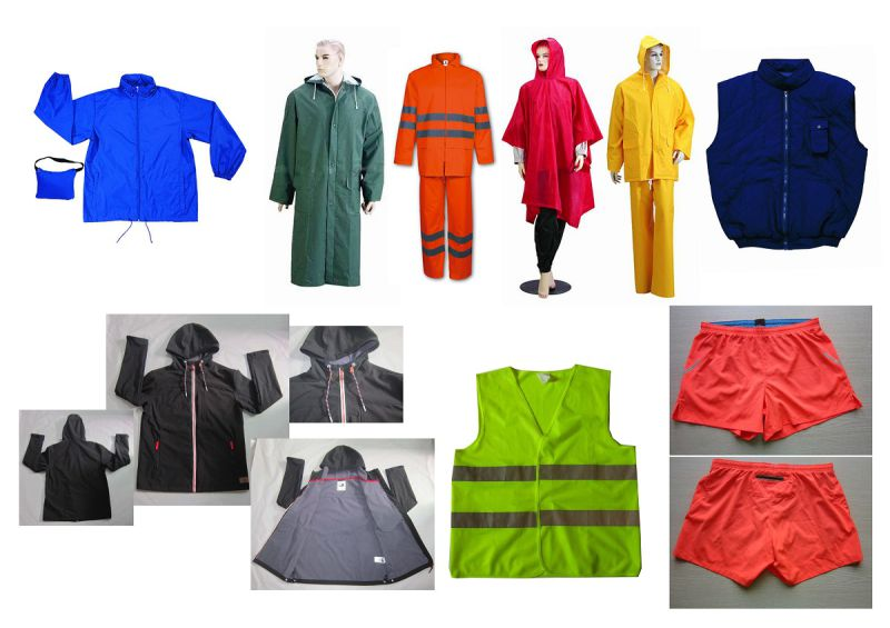 Yj-6002 Hooded Green PVC Polyester Long Raincoat for Men