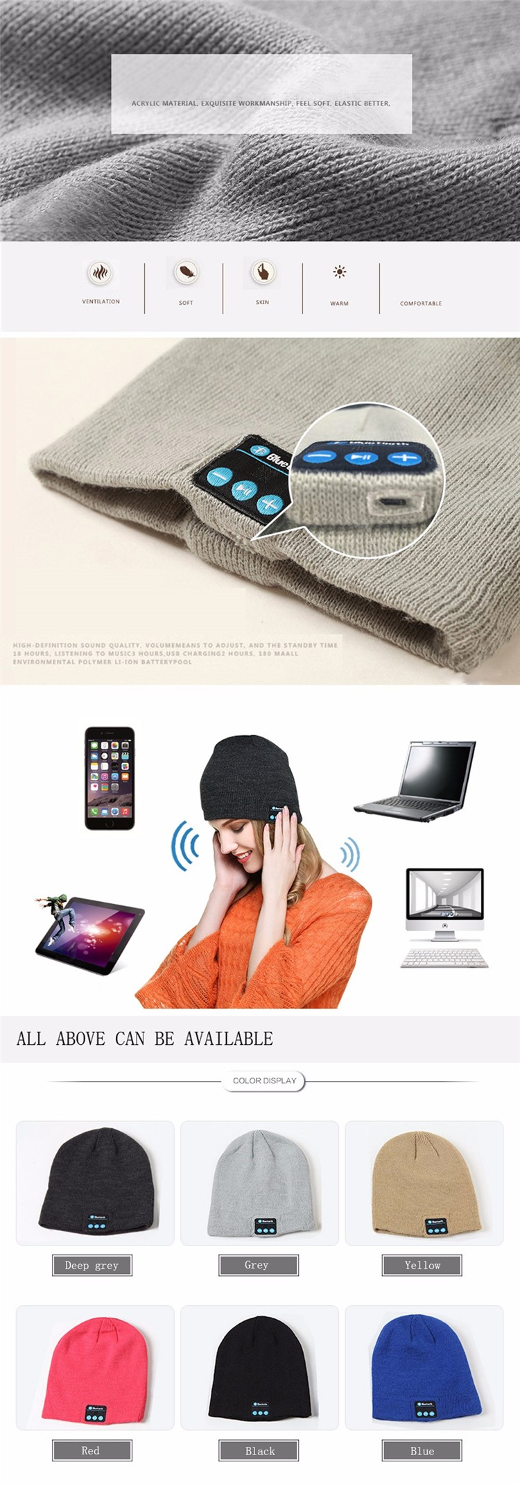Bluetooth Hat Headphones