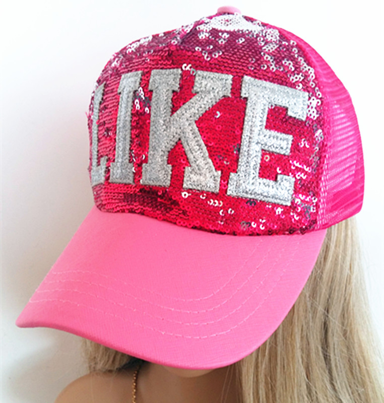 Sequins Embroidery Sport Cap Baseball Cap Mesh Hat