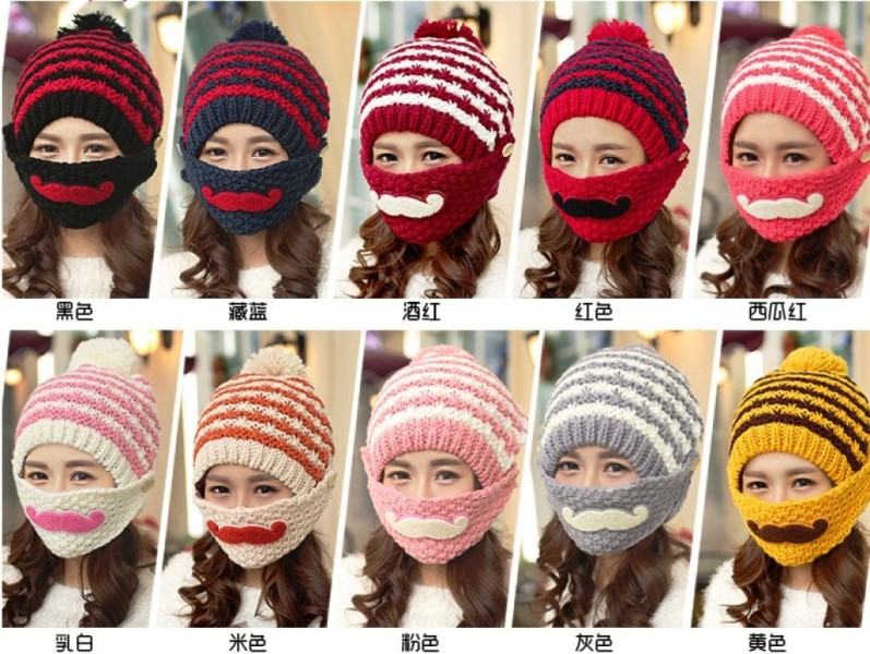 Hand Knitted Hat Embroidered Knitted Beanie Beard Hat