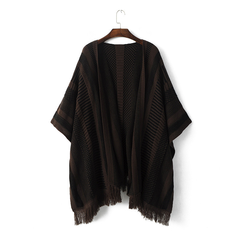 Womens Striped Knitted Stole Wraps Scarf Poncho Shawl (SP285)