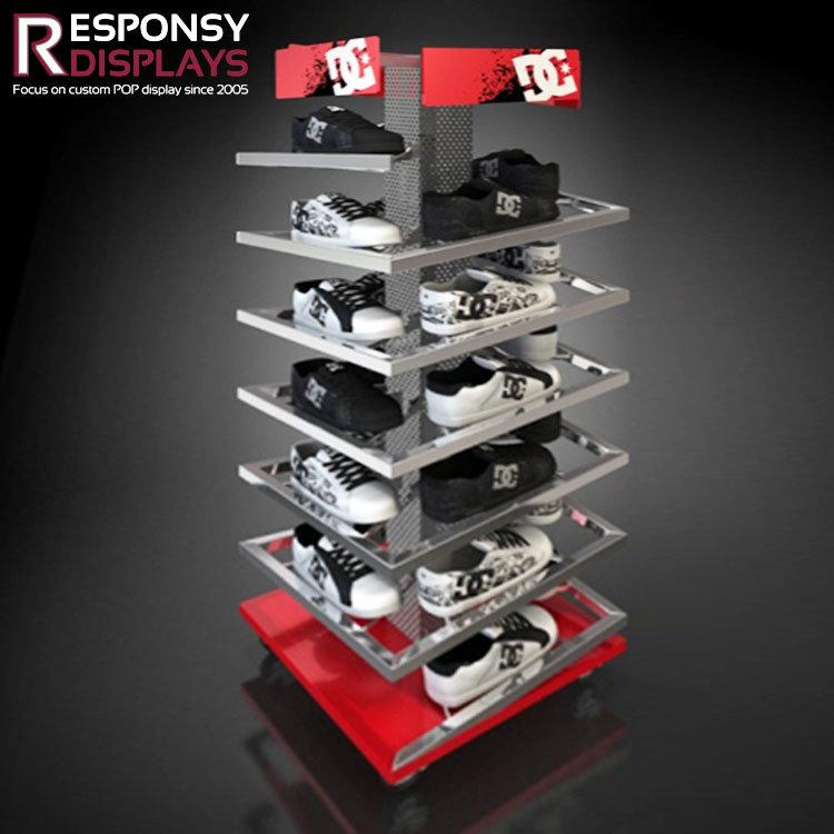 Supermarket Large Metal Floor Shoes Display Shelf Rack with Creative Logo