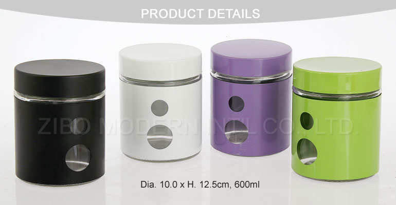 Wholesale Stainless Steel Coating Glass Jars for Food and Glass Cookie Jar