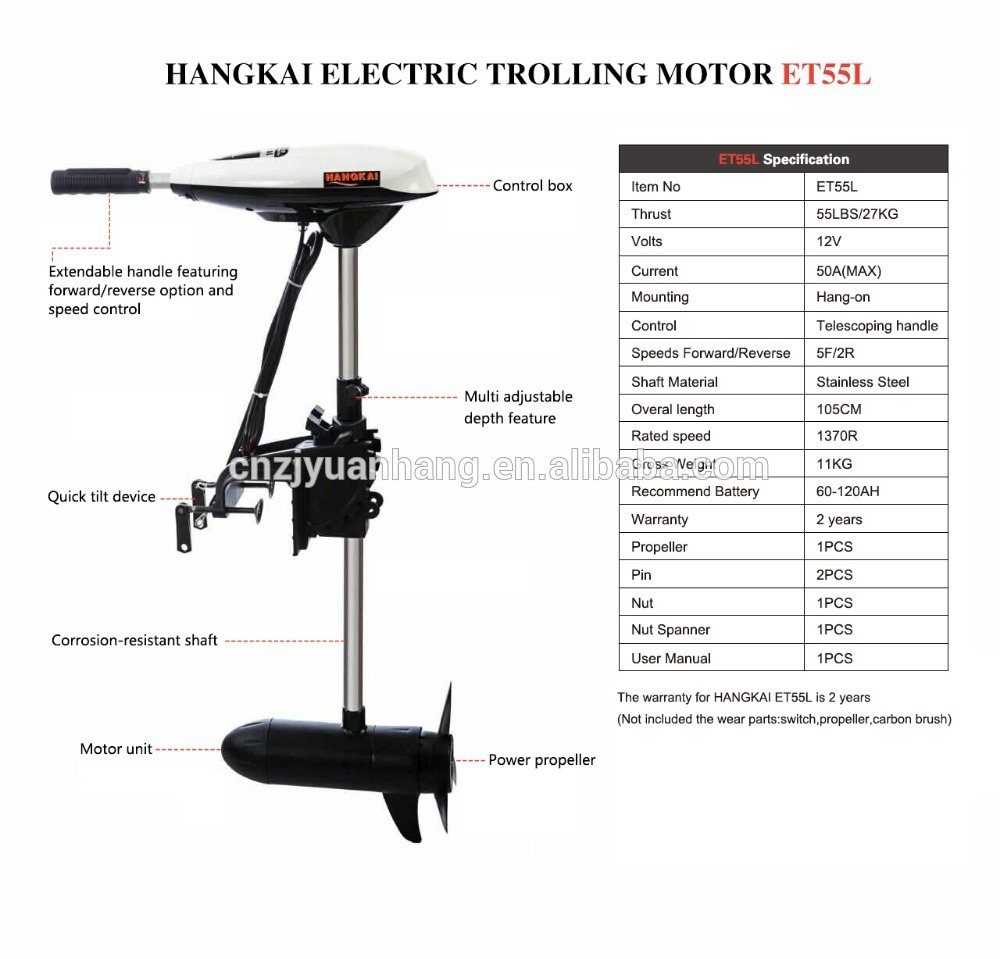 Hangkai 12v transom mounted 55 pound thrust electric for 30 lb thrust trolling motor speed
