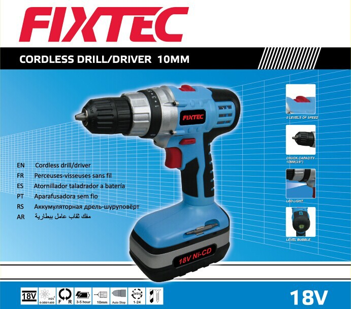 Fixtec 10mm 18V Ni-CD Cordless Drill of Power Tools