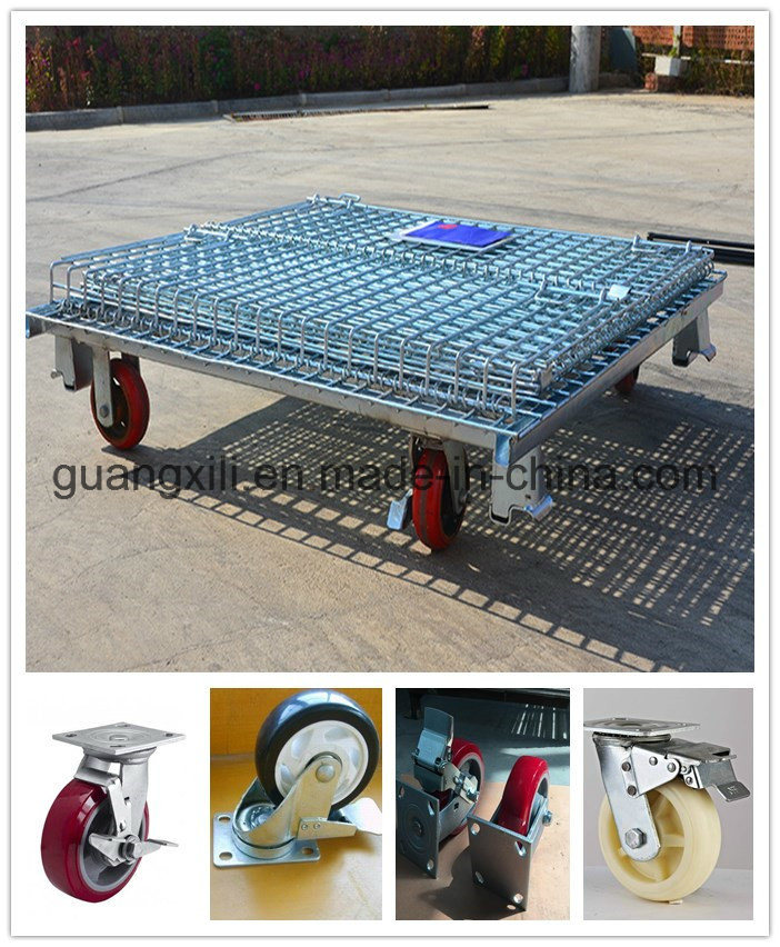 Warehouse Storage Folding Stacking Steel Wire Mesh Container with Casters