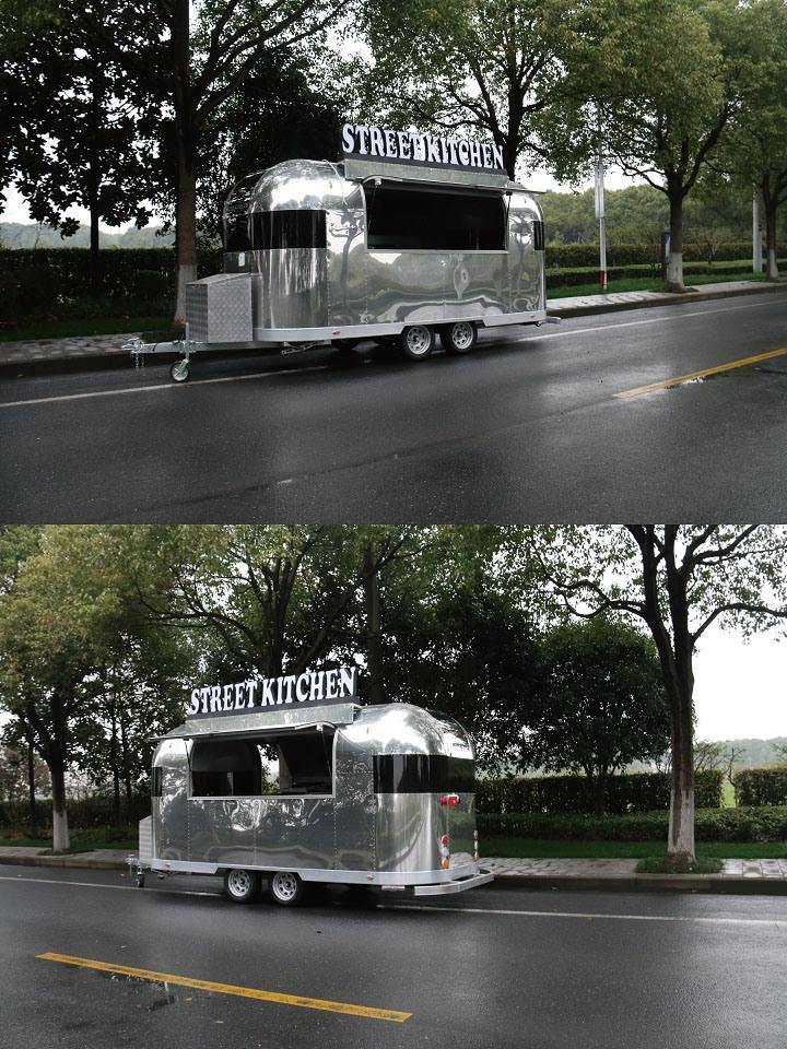 Smokeless BBQ Aluminum Food Trailer Mobile Food Van for Sale