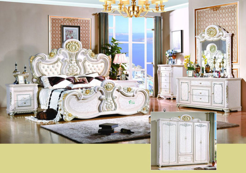 Classic Bedroom Furniture Set with Classical Bed and Wardrobe (W801#)