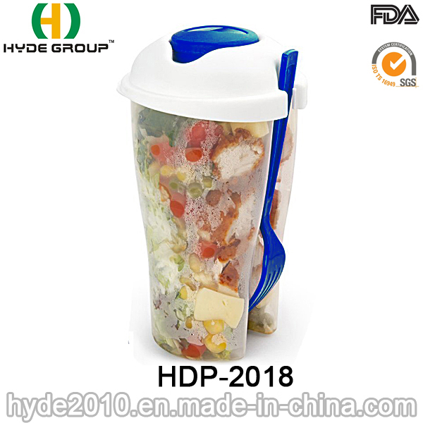 Ecological Popular Salad Container with Fork (HDP-2018)