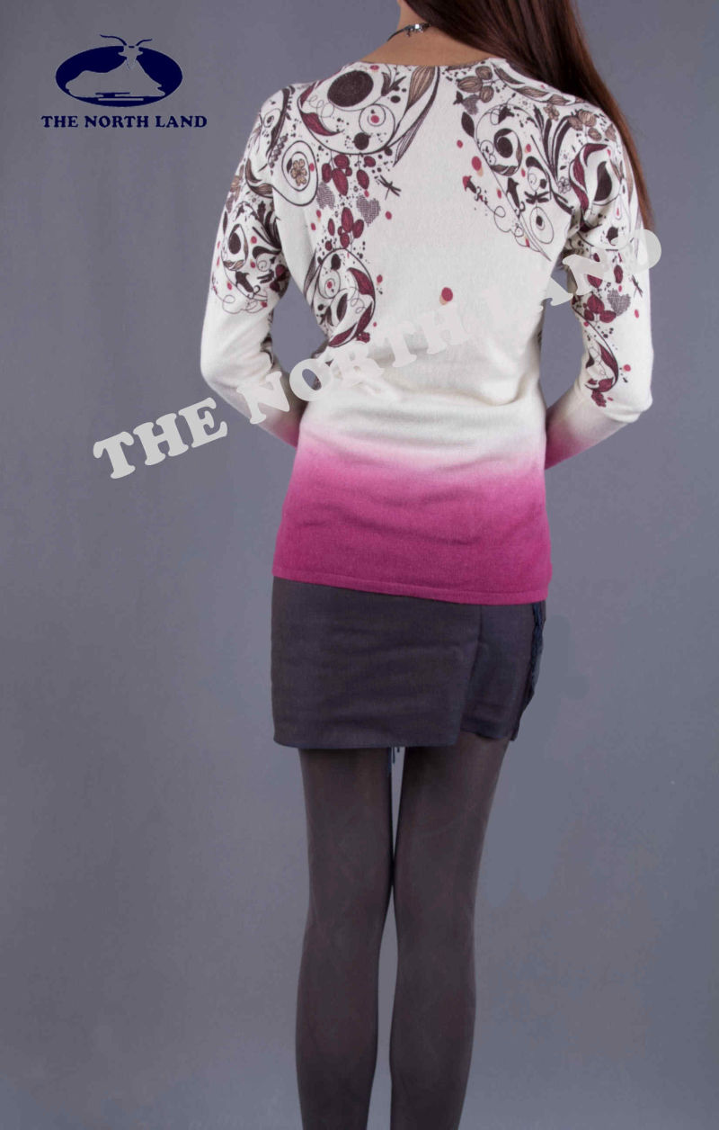 Ladies Cashmere V Neck Cardigan with Printings & Ombre Dye