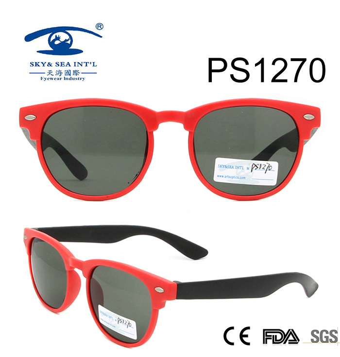 New Fashion Red Frame Light Colorful Children Sunglasses (PS1270)