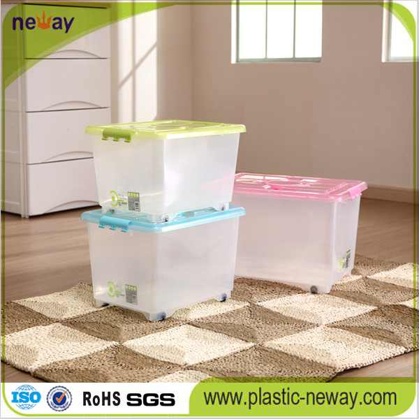 Transparent Plastic Storage Box with Wheels