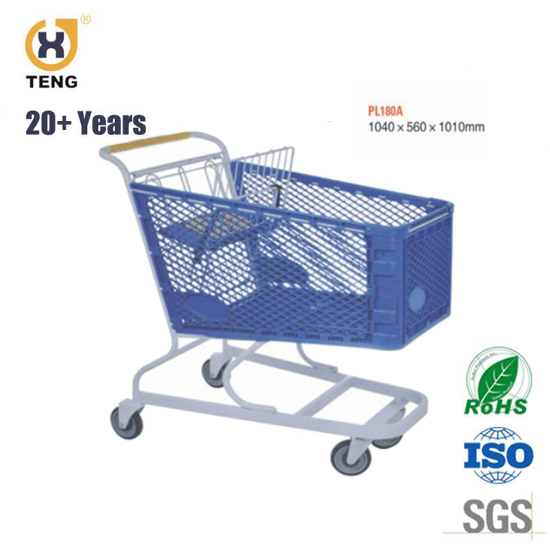180L Plastic Metal Supermarket Shopping Trolley Cart