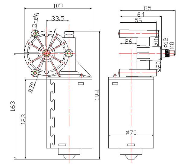 70W Windshield Wiper Motor for Bus
