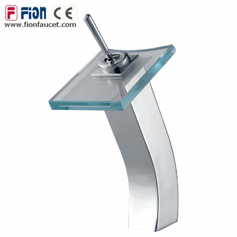 Single Handle Bathroom Glass Waterfall Basin Mixer Basin Tap (F-9205)