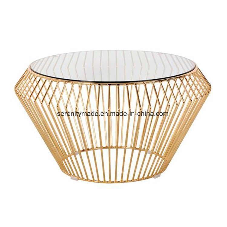 Plated Modern Design Gold Wire Frame Round Shape Coffee Table