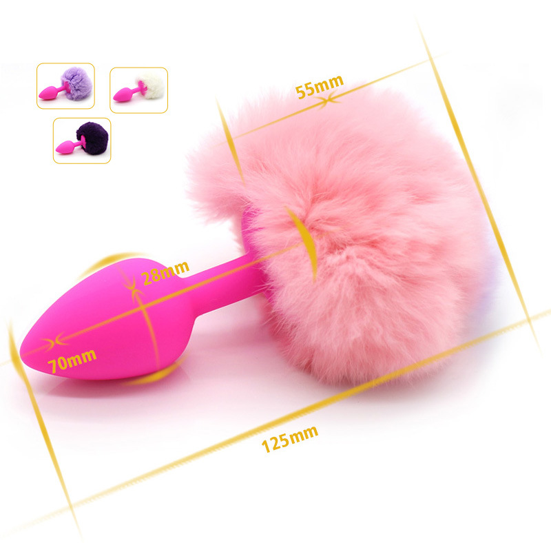 Small/ Middle/ Large Size Rabbit Tail Silicone Anal Plug Sex Toy Bunny Butt Plug Sex Game Toys Adult Products for Couples