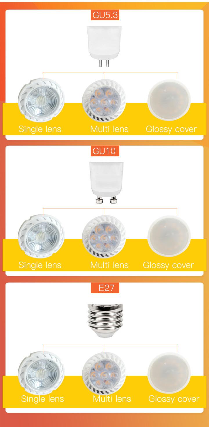 Hot Sale LED Spotlight MR16 Gu5.3 with Lens LED Lighting 2700K-7500K