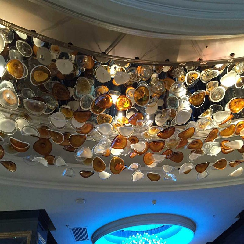 Hotel Decorative Glass Hanging Broken Colour Pendant Lamp
