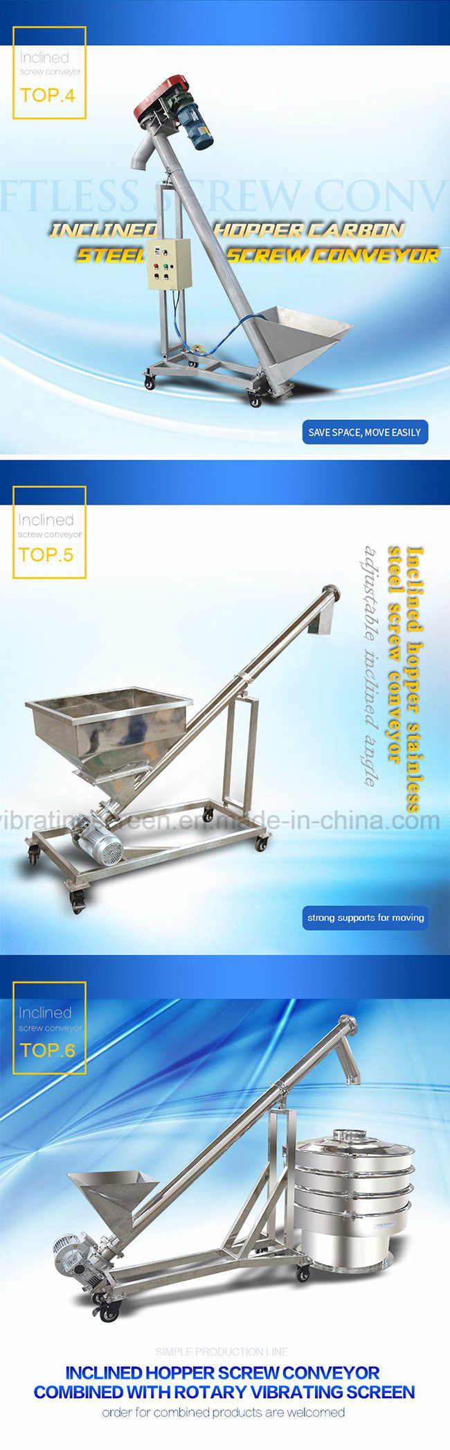 Hopper Flexible Screw Feeder with Movable Supports