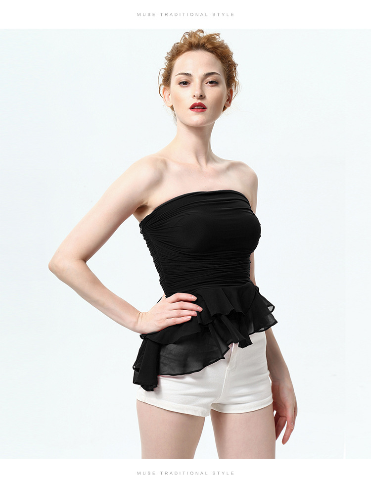 Summer New Flounced Women Bra Chest Wrapped Wild Bottoming Shirt Gauze Ruffle Vest Slim Sexy Blouse