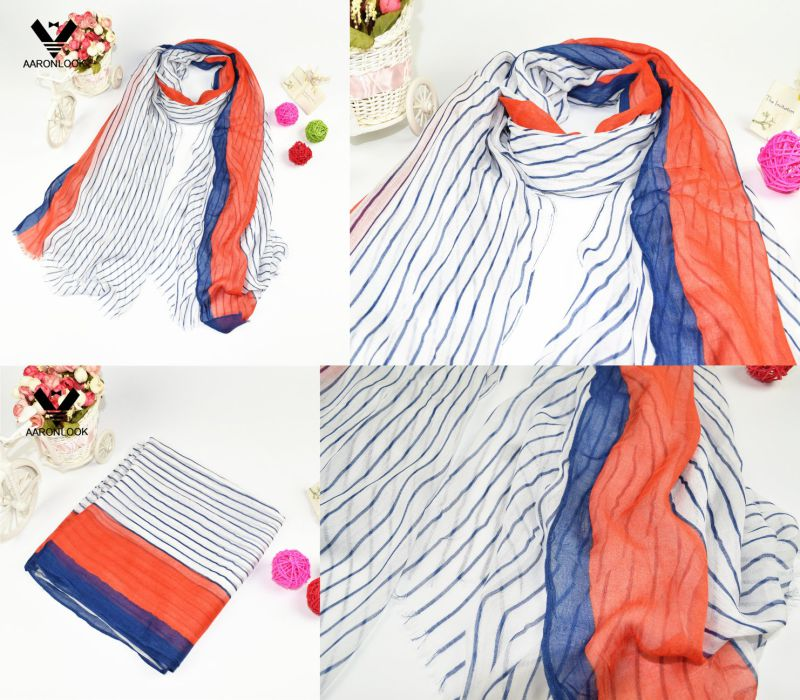 Women's Super Soft Vertical Stripe Print Real Modal Scarf Short Fringes
