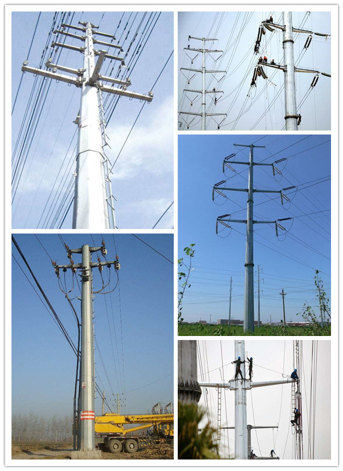 Electrical Equipements Suppliers 33kv Tower Electric Galvanized 10-220kv Transmission Power Line Steel Tubular Pole