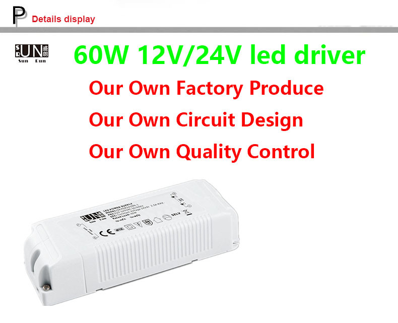 Ce Constant Voltage 60W 12V Strips Power High PF for LED Strips