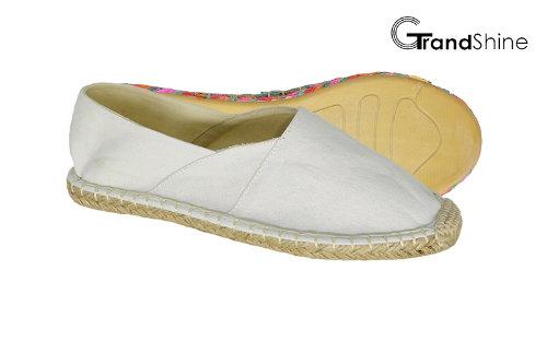 Women's Casual Espadrille White Canvas Flat Shoes