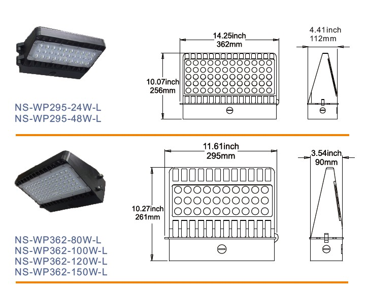 UL Dlc Listed IP65 Outdoor 11000lm 100W LED Wall Packs