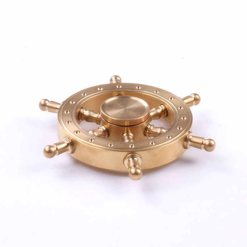 2017 New Design Solid Brass Gold Rudder Fidget Spinner Toy Finger Hand Fidget Spinner