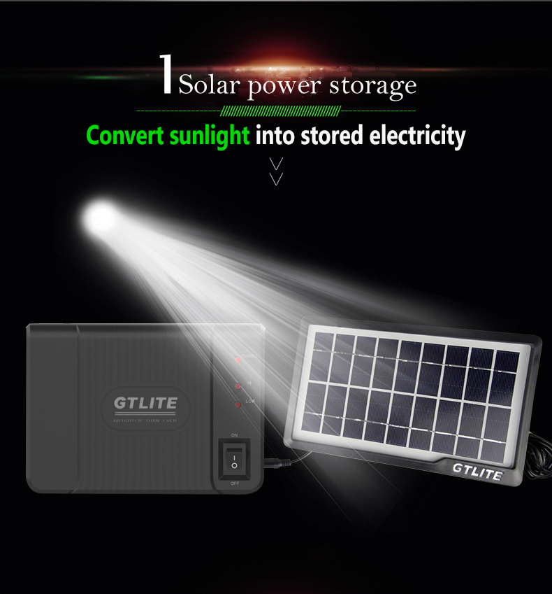 Black Solar Home Light System, USB Cable, Charging for Smart Phone or Other Household Appliances