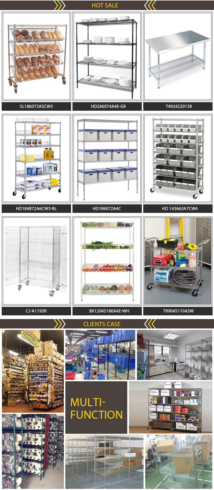 New Design Heavy Duty 150kg Adjustable 4 Shelves Commercial Equipment Kitchen Storage Rack