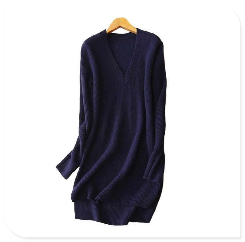 Women's 2017 New Dresses Pure Cashmere Knitting Deep V Neck Split Hem Sexy Short Above Knee Dress