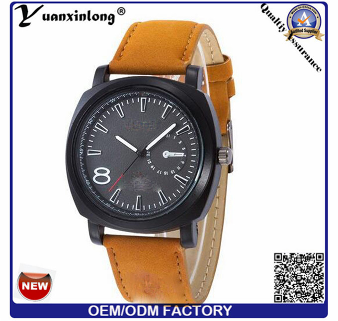 Yxl-374 New Design Leather Luxury Mens Watch Military Army Larger Face Curren Brand Watches Men