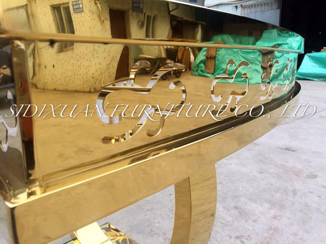 3.6m Diameter Variable Stainless Steel Gold Finishing Modern Party Table with Melamine Desktop